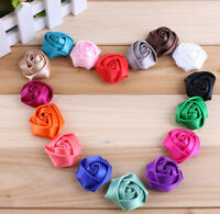 Mini Satin Ribbon Rose Fabric Flower For Baby Headband Hair Accessories 30pcs