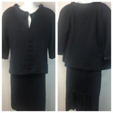 ST. JOHN Sz 4 Black couture collection 2 piece suit skirt jacket set knit Ruffle