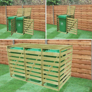 SINGLE DOUBLE TRIPLE WHEELIE BIN STORAGE STORE WOODEN SHED COVER RUBBISH STORES