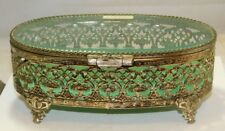 Antique Silver Plated Filigree Glass Jewelry Casket Box Green Velvet  Unused