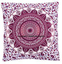 "Purple Ombre Mandala Cotton Cushion Cover Indian Decorative Pillows Bohemian 16"""