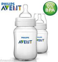 New Philips Avent Classic+ 260ml/9oz Baby Feeding Bottle Twin Pack Set SCF563/27