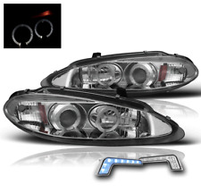 1998-2004 DODGE INTREPID CHROME HALO PROJECTOR HEAD LIGHTS SET+BLUE LED DRL PAIR