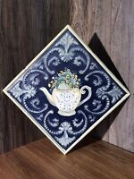 Vintage Look Hand Painted Coffee Cup Flowers Theme Embossed Tin Ceiling Tile E72