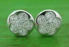 Real 925 sterling silver CZ Microsetting FLOWER 8mm Flat studs Earring TEEN GIRL