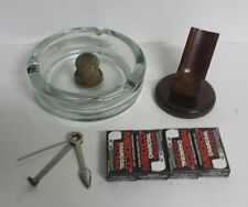 Set of Wood Pipe Rack Stand Holder + Glass Ashtray + Cleaning Tool + Filters
