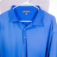 Peter Millar Summer Comfort Mens XL Solid Blue Polo Golf Shirt