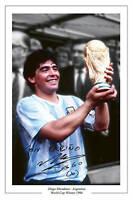 DIEGO MARADONA ARGENTINA WORLD CUP 1986 SIGNED PHOTO SOCCER
