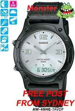 CASIO WATCH DUALTIME STOP AW49H AW49HE AW-49HE-7AV 12 MONTH WARRANTY