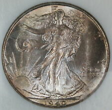 1940-S Walking Liberty Silver Half Dollar 50c Gem BU Toned (SG)