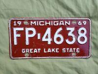 1969 Michigan License Plate Original FP 4638 Wayne County Detroit