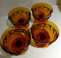 Vintage, Indiana Glass, Amber  Kings Crown Thumbprint, Footed Sherbert Bowl