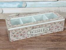 Vintage Pink floral WISHES trinket compartment box storage sewing jewellery