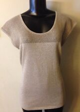 M Ann Taylor Taupe & Glitter Gold Sweater NWT New Cap Sleeve Retail $49