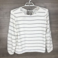 Ann Taylor Women's Size Large Long Sleeve Blouse Top Striped Ivory Black