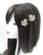 2 x Silver Leaf Hair Clips Pins Vintage Grecian Roman Boho Woodland Bridal V67