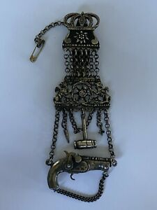 Antikes Silber Charivari Anhänger Steinschlosspistole Massiv Silber 88,16gr