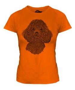 Pudel Sketch Damen Bedrucktes T-Shirt Top Tolles Geschenk für Hund Liebhaber