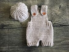 Newborn Baby Boy Crochet Overalls And Cap Set Photography Prop Outfit Clothes