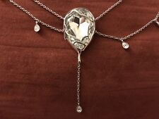 Rare Swarovski Swan signed crystal long  necklace Silver Tone