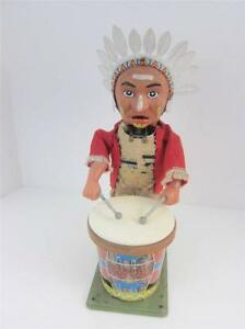 Battery Op Drums Native American Indian Tin Toy 1950's Nomura Japan, See VIDEO