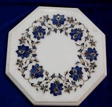 "12"" Marble side Table Top Semi Precious Stones art Inlay room decor"