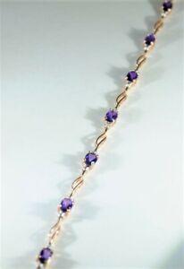 9ct Rose gold amethyst tennis bracelet