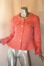 Womans J CREW Pink White Fringe Tweed Cotton Jacket Size 4