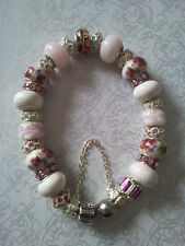 Anesiidora 18KGP Silver European bead bracelet Hot Pink White Peony Rose Flower