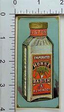 1889 Paris Expo. Heinz's Evaporated Horse Radish Bottle Label Engraved F68