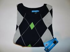 [NEW] PGA TOUR Golf Vest L - Black w/ White & Green Diamond Pattern Elastic