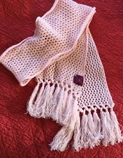 "NWT Phenix 100% Cashmere 84"" Long Pink Knit Scarf W/ Fringes/tassels Luxurious"