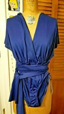 Lulus Blue Multi Wrap Bodysuit 2-Snaps Size Small NWT