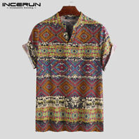 INCERUN Men's Short Sleeve Floral T Shirt Hippy Causal 100%Cotton Shirt Tops Tee