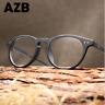 Unisex Acetate Imitation Wood Eyeglasses Frame Round Retro Clear Lens Glasses