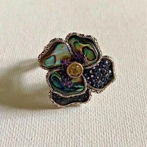 BARBARA BIXBY PANSY GEMSTONE RING IOLITE ABALONE SIZE 7.5 CARVED FLOWER Gift
