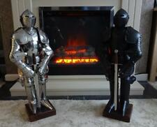 Miniature English Medieval Suit of Armour on Stand with Sword In Black or Silver