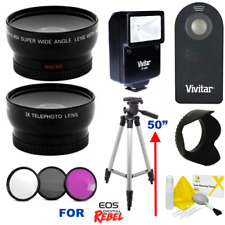 "58MM WIDE ANGLE MACRO LENS + 50"" TRIPOD + ZOOM LENS KIT FOR CANON XT XTI XS XSI"