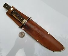 Vintage German Compass 851 Original Bowie Knife Stag Solingen w/ Sheath