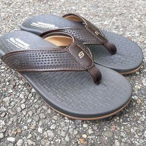 Skechers Relaxed Fit Memory Foam Pelem EMIRO Chocolate Flip Flop Sandal-Sz 8 men