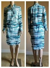 Haute Hippie Womens Silk Teal Multi High Low Shirt Long Sleeves Dress XS $425