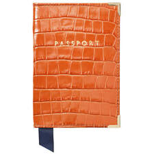 NEW Aspinal of London Passport Cover Marmalade Small Croc in Gift Box