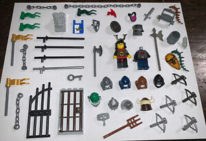 LEGO Minifigure Castle Lot Of 45 Pieces Kingdoms Knights Accessories Detail