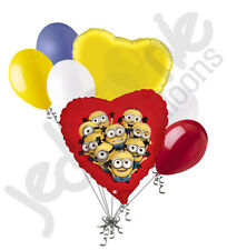 7 pc Despicable Me Minions Balloon Bouquet Party Decoration Happy Birthday Pink