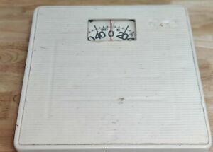 Vintage 1980's 🔥Good Working Square White Bathroom Scale Retro Decor Rusty🔥