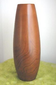 "Modernist Teakwood Faux Finish ""Ceramic Vase"" - JaNice Interiors Accents"