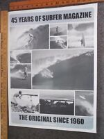 Vtg 45 Years of SURFER MAGAZINE Poster / Severson Photos / Greg Noll / Hawaii
