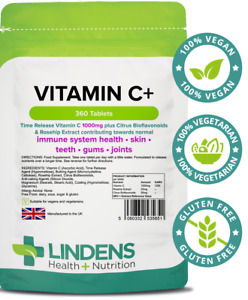 Vitamin C+ 1000mg with Rosehip + Bioflavonoids 360 Tablets Lindens