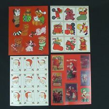 4 Sheets of Christmas Stickers Santa Claus Cats Dogs Bears Toys AGC Hallmark +