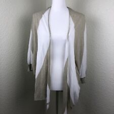 cbe7c8f33992d Minnie Rose Women s Open Front Cardigan Sweater White Beige Cotton Size XS
